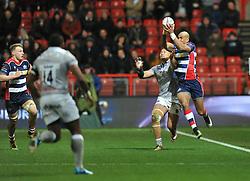 Tom Varndell of Bristol Rugby wins the ball - Mandatory by-line: Paul Knight/JMP - 13/01/2017 - RUGBY - Ashton Gate - Bristol, England - Bristol Rugby v Bath Rugby - European Challenge Cup