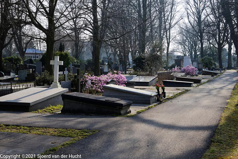 Nederland, Den Haag - 3 maart 2021: Begraafplaats Oud Eik en Duinen. |  Netherlands, The Hague - March 3, 2021: Old Eik en Duinen Cemetery