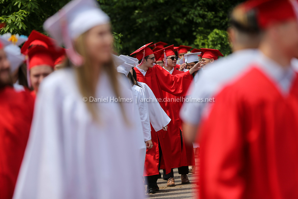 (6/2/19, MILFORD, MA) Graduates process during graduation at Milford High School on Sunday. [Daily News and Wicked Local Photo/Dan Holmes]