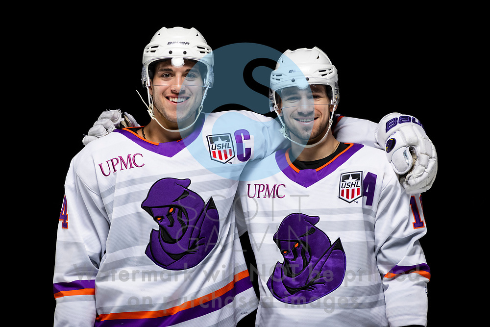 Youngstown Phantoms player photo shoot on April 14, 2021. <br /> <br /> Reilly Funk, forward, 94 and Jack Malone, forward, 18
