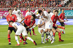 SUWON, Sept. 12, 2018  Hwang Hee-chan (front 3rd L) of South Korea vies with Chile's Mauricio Isla (front 1st R) during a friendly soccer match between South Korea and Chile at Suwon World Cup Stadium in Suwon, South Korea, on Sept. 11, 2018. The match ended with a 0-0 draw. (Credit Image: © Lee Sang-Ho/Xinhua via ZUMA Wire)