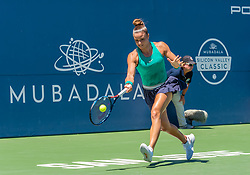 August 5, 2018 - San Jose, CA, U.S. - SAN JOSE, CA - AUGUST 05: Maria Sakkari (GRE) places a forehand hit during the WTA Singles Championship at the Mubadala Silicon Valley Classic  at the San Jose State University Stadium Court in San Jose, CA  on Sunday, August 5, 2018. (Photo by Douglas Stringer/Icon Sportswire) (Credit Image: © Douglas Stringer/Icon SMI via ZUMA Press)