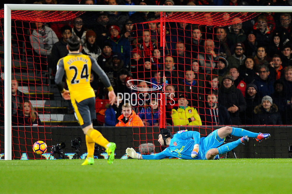Petr Cech (33) of Arsenal watches a shot go wide of his post during the Premier League match between Bournemouth and Arsenal at the Vitality Stadium, Bournemouth, England on 3 January 2017. Photo by Graham Hunt.