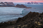 View of the Hansbreen terminus at sunset in Hornsund, Svalbard from Fugleberget.