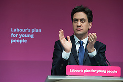 © Licensed to London News Pictures . 27/02/2015 . Leeds , UK . ED MILIBAND applauds at the launch of the Labour Party's fourth election pledge at a speech on young people . British Labour Party leader Ed Miliband and Shadow Chancellor Ed Balls at Leeds College of Music today ( Friday 27th February 2015 ) . Photo credit : Joel Goodman/LNP