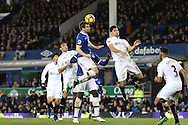 Seamus Coleman of Everton (c) heads the ball to score his teams 1st goal to make it 1-1. . Premier league match, Everton v Swansea city at Goodison Park in Liverpool, Merseyside on Saturday 19th November 2016.<br /> pic by Chris Stading, Andrew Orchard sports photography.