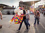 14 AUGUST 2019 - DES MOINES, IOWA: A fair goer carries out a large plush toy he won at the Iowa State Fair. The Iowa State Fair is one of the largest state fairs in the U.S. More than one million people usually visit the fair during its ten day run. The 2019 fair run from August 8 to 18.               PHOTO BY JACK KURTZ