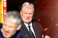 Leeds United Manager Steve Evans (c) looks on prior to kick off. Skybet football league Championship match, Huddersfield Town v Leeds United at the John Smith's Stadium in Huddersfield, Yorks on Saturday 7th November 2015.<br /> pic by Chris Stading, Andrew Orchard sports photography.