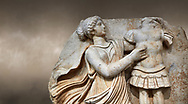 Close up of a Roman Sebasteion relief  sculpture of a Goddess inscribing a trophy, Aphrodisias Museum, Aphrodisias, Turkey.  Against an art background.<br /> <br /> A draped goddess strides forward to inscribe a military trophy to which is bound a kneeling female captive. The goddess is probably a personification such as Honour, Virtue or Courage. .<br /> <br /> If you prefer to buy from our ALAMY STOCK LIBRARY page at https://www.alamy.com/portfolio/paul-williams-funkystock/greco-roman-sculptures.html . Type -    Aphrodisias     - into LOWER SEARCH WITHIN GALLERY box - Refine search by adding a subject, place, background colour, museum etc.<br /> <br /> Visit our ROMAN WORLD PHOTO COLLECTIONS for more photos to download or buy as wall art prints https://funkystock.photoshelter.com/gallery-collection/The-Romans-Art-Artefacts-Antiquities-Historic-Sites-Pictures-Images/C0000r2uLJJo9_s0