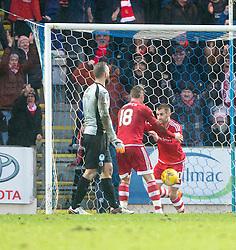 Aberdeen's Niall McGinn cele scoring their third goal. <br /> St Johnstone 3 v 4Aberdeen, SPFL Ladbrokes Premiership played 6/2/2016 at McDiarmid Park, Perth.