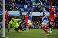 Portsmouth Forward, Michael Smith (9) shot is turned in my Portsmouth Forward, Conor Chaplin (19) for the opening goal during the EFL Sky Bet League 2 match between Portsmouth and Leyton Orient at Fratton Park, Portsmouth, England on 14 January 2017. Photo by Adam Rivers.
