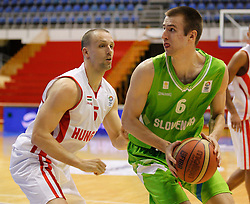 Matej Rojc of Slovenia basketball national team in action against Akos Horvath of Hungary during Trofej Beograd tournament third place match at Pionir arena  in Belgrade, Serbia on August 9th 2012.Foto: Marko Metlas / MN Press / Sportida.com