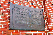 Historic plaque at Faneuil Hall on the Freedom Trail, Boston, Massachusetts
