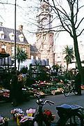 Bloemenmarkt Flower and plant market near Munt Tower, Amsterdam, Netherlands 1973