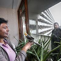 Nederland, Amsterdam Zuid Oost , 23 december 2011..De Surinaams Hindoestaanse familie Phagoe in hun flat. Chaya (moeder) en zoon Ravindra zijn 1 van de laatste bewoners van de flat Kleiburg in amsterdam Zuid Oost. .vooralsnog hebben zij geen andere woning toegewezen gekregen...Foto:Jean-Pierre Jans