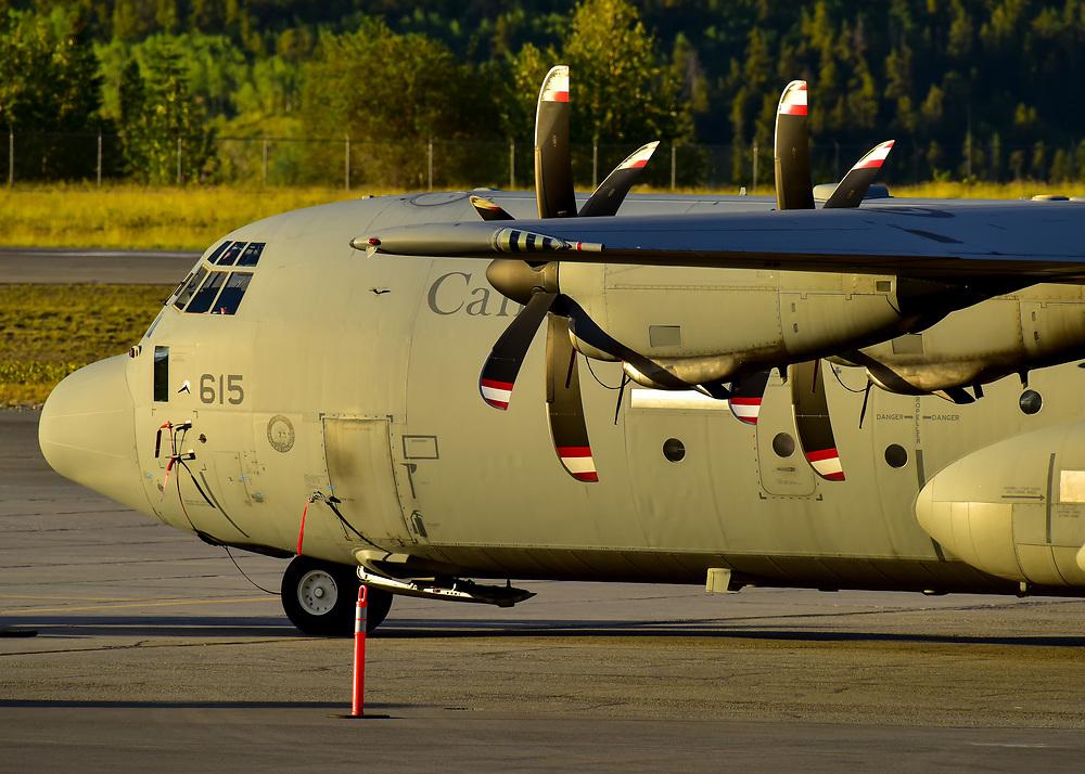 An RCAF CC-130J catches the Yukon sunset light