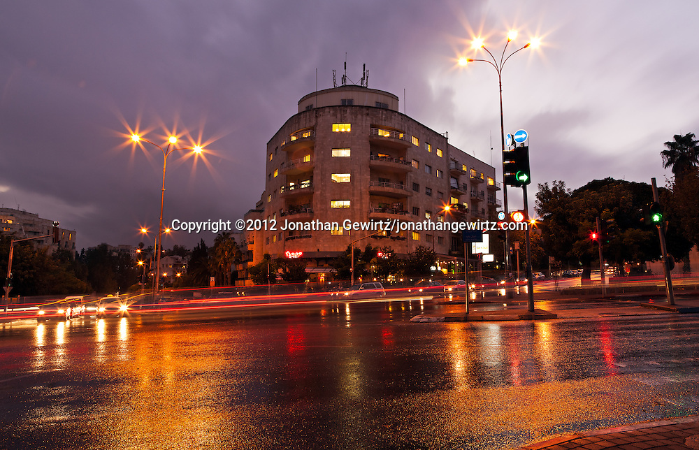 A rainy evening at the intersection of Jabotinsky, Keren Hayesod and King David Streets. WATERMARKS WILL NOT APPEAR ON PRINTS OR LICENSED IMAGES.