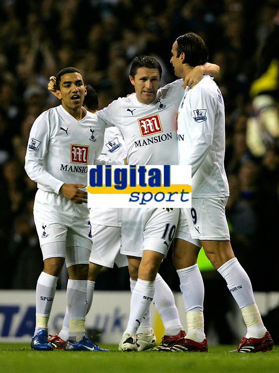 Photo: Tom Dulat.<br /> <br /> Tottenham Hotspur v Blackpool. Carling Cup. 31/10/2007.<br /> <br /> Robbie Keane(middle) celebrates his opener for Tottenham Hotspur, Tottenham leads 1-0, in the picure Aaron Lennon(L) and Dimitar Berbatov(R)