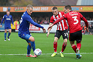 AFC Wimbledon striker Joe Pigott (39) dribbling into the box during the EFL Sky Bet League 1 match between AFC Wimbledon and Lincoln City at the Cherry Red Records Stadium, Kingston, England on 2 November 2019.