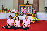 26 NOVEMBER 2012 - BANGKOK, THAILAND:  Women pose in front of picture of the King and Queen of Thailand after paying their respects to the monarchy at Siriraj Hospital in Bangkok. They were wearing pink because it's viewed as a fortuitous color that could bring the King better health. Siriraj was the first hospital in Thailand and was founded by King Chulalongkorn in 1888. It is named after the king's 18-month old son, Prince Siriraj Kakuttaphan, who had died from dysentery a year before the opening of the hospital. It's reported to one of the best hospitals in Thailand and has been home to Bhumibol Adulyadej, the King of Thailand, since 2009, when he was hospitalized to treat several ailments. Since his hospitalization tens of thousands of people have come to pay respects and offer get well wishes. The King's 85th birthday is on Dec 5 and crowds at the hospital are growing as his birthday approaches. The King is much revered throughout Thailand and is seen as unifying force in the politically fractured country.       PHOTO BY JACK KURTZ