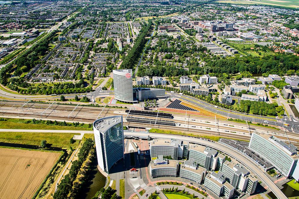 Nederland, Noord-Holland, Hoofddorp, 01-08-2016; Hoofddorp centrum, omgeving NS station en kantorenpark Beukenhorst.<br /> Hoofddorp, railway station and environment.<br /> luchtfoto (toeslag op standard tarieven);<br /> aerial photo (additional fee required);<br /> copyright foto/photo Siebe Swart