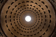 Detail view of the Pantheon dome, coffers and oculus, looking straight up. Rome, Lazio, Italy.