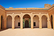 Arabesque courtyard  of the  Alaouite Ksar Fida built by Moulay Ismaïl the second ruler of the Moroccan Alaouite dynasty ( reigned 1672–1727 ). Residence of the Khalifa or Caid of Tafilalet until 1965. Tafilalet Oasis, near Rissini, Morocco .<br /> <br /> Visit our MOROCCO HISTORIC PLAXES PHOTO COLLECTIONS for more   photos  to download or buy as prints https://funkystock.photoshelter.com/gallery-collection/Morocco-Pictures-Photos-and-Images/C0000ds6t1_cvhPo<br /> .<br /> <br /> Visit our ISLAMIC HISTORICAL PLACES PHOTO COLLECTIONS for more photos to download or buy as wall art prints https://funkystock.photoshelter.com/gallery-collection/Islam-Islamic-Historic-Places-Architecture-Pictures-Images-of/C0000n7SGOHt9XWI