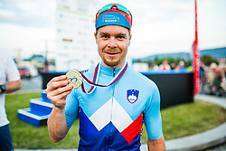 Jan Tratnik with golden medal and jersey for national champion at Sloveian Road Cycling Championship Time Trial 202, on June 17, 2021 in Koper, Slovenia. Photo by Grega Valancic / Sportida.