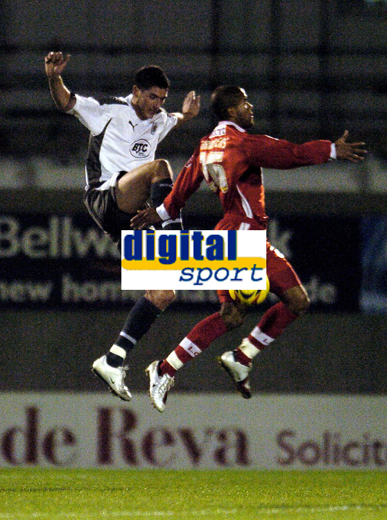 Photo: Olly Greenwood.<br />Leyton Orient v Bristol City. Coca Cola League 1. 01/11/2006. Bristol's Liam Fontane and Leyton Orient's Adam Chambers