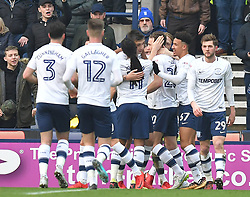 Preston North End players celebrate their opening goal