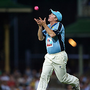 Steve Waugh drops a catch in front of Sir Michael Parkinson during Australia's Big Bash Cricket match to raise money for the Victorian Bushfire Appeal at the Sydney Cricket Ground, Sydney, Australia on February 22, 2009. The match was attended by over 20,000 spectators.  Photo Tim Clayton