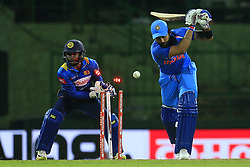 August 24, 2017 - Kandy, Sri Lanka - Indian cricket captain Virat Kohli is bowled out during the 2nd One Day International cricket match between Sri Lanka and India at the Pallekele international cricket stadium at Kandy, Sri Lanka on Thursday 24 August 2017. (Credit Image: © Tharaka Basnayaka/NurPhoto via ZUMA Press)