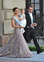 Crown Princess Victoria of Sweden, Princess Estelle of Sweden and Prince Daniel of Sweden attend the wedding of Princess Madeleine of Sweden and Christopher O'Neill hosted by King Carl Gustaf XIV and Queen Silvia at The Royal Palace in Stockholm, Sweden, June 8, 2013 . Photo by Schneider-Press / i-Images. .UK & USA ONLY