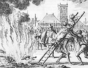 Ann Ekende Vlasteran burned alive in 1571 for the heresy of Anabaptism. From 'Mirror Martyrs', 1660. Anabaptists rejected infant baptism and practiced Believer's or Credobaptism.  Religion Christian Persecution Fire