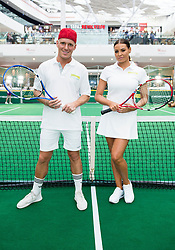 EDITORIAL USE ONLY<br /> Made in Chelsea's Jamie Laing and Jessica Wright from The Only Way is Essex play tennis against each other to celebrate the release of new tennis movie &Ocirc;Battle of the Sexes&Otilde;, in partnership with cereal bar Nature Valley, at Westfield London in Shepherd&Otilde;s Bush.