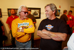 Arlen Ness and Jerry Covington at the Journey Museum opening reception for Speed Demons; Race Inspired Motorcycle Art. Photography ©2004 Michael Lichter.