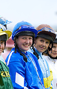 Amateur lady jockeys at Beverly Racecourse, Yorkshire, UK