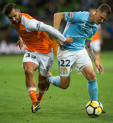 October 6, 2017 - Melbourne, Victoria, Australia - Melbourne, Victoria, Australia - Petros Skapetis (#33) of Brisbane Roar and Michael Jakobsen (#22) of Melbourne City in action during the round 1 match between Melbourne City and Brisbane Roar at AAMI Park in Melbourne, Australia during the 2017/2018 Australian A-League season. (Credit Image: © Theo Karanikos via ZUMA Wire)