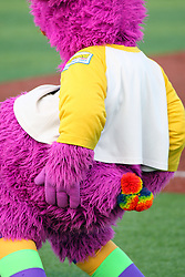 11 August 2012:  The Purple Party Dude swivels his hips to the music while trying to get the 1st base coach to dance during a Frontier League Baseball game between the River City Rascals and the Normal CornBelters at Corn Crib Stadium on the campus of Heartland Community College in Normal Illinois.  The CornBelters take this game in 9 innings 7 - 2 with a 5 run 2nd inning.