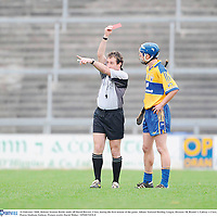 10 February 2008; Referee Seamus Roche sends off David Barrett, Clare, during the first minute of the game. Allianz National Hurling League, Division 1B, Round 1, Galway v Clare, Pearse Stadium, Galway. Picture credit; David Maher / SPORTSFILE