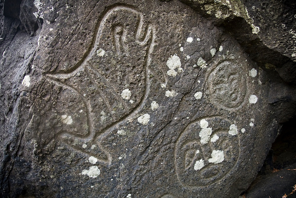 Ancestral Makah Native-American petroglyphs on the North Coast, Olympic National Park, Washington.