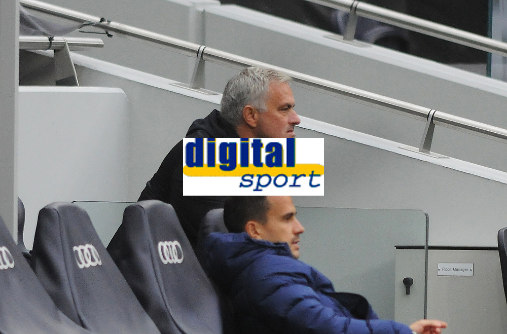 Football - 2020 /2021 Premier League - Tottenham Hotspur vs Newcastle United<br /> <br /> An unhappy Tottenham Manager, Jose Mourinho sits back down in his seat, at the Tottenham Hotspur Stadium.<br /> <br /> COLORSPORT/ANDREW COWIE