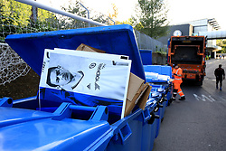 27 August 2017 -  Premier League - Chelsea v Everton - A cardboard image of former Chelsea player Nemanja Matic, now of Manchester United heads for the bin at Stamford Bridge - Photo: Marc Atkins/Offside