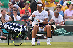 © Licensed to London News Pictures. 03/07/2017. London, UK. Photo credit: RAFAEL NADAL plays a first round men's singles match against John Millman on the first day of the Wimbledon Lawn Tennis Championships. Photo credit: Ray Tang/LNP