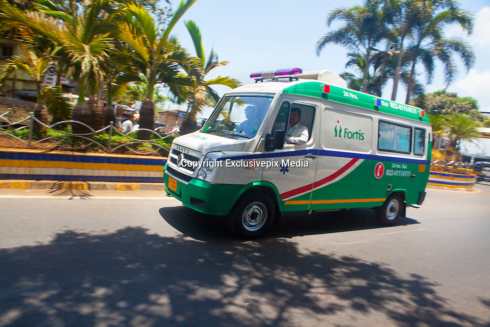 24 May 2016 , Mumabi airport - INDIA:]<br /> <br /> Doctors overcome heavy traffic & Transport Donor Heart Across cities in India for Heart Transplant in under 4 hours.<br /> <br /> The Ambulance with the Donor Heart rushes towards the Fortis Hospital in Mumbai for a heart Transplant Operation.Mumbai Police Officers form a 'green corridor' - a traffic management system for quick transport-  outside the Mumbai airport to enable the Doctors from Fortis Hospital to transport the Donor Heart which was arriving from Surat ( a town 300 kilometers away) by special flight for Heart Transplant Operation at Fortis Hospital in Mumbai.<br /> ©Exclusivepix Media