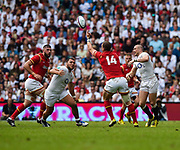 Wales' George North juggles the ball after a tackle from England's Mike Brown during the The Old Mutual Wealth Cup match England -V- Wales at Twickenham Stadium, London, Greater London, England on Sunday, May 29, 2016. (Steve Flynn/Image of Sport)