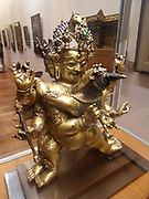 Hayagriva in union with his wife of prajna.  Late 15th-early 16th century, copper, encrusted, gilded, with turquoise. Tibetan Hindu/Buddhist mythology in which Janârdan Mâdhava, the Lord of all, was severed out of His body! And He was afterwards known as Hayagrîva, the horse-faced!