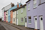 Colourfully painted terraced houses on Kyrle Street in Ross-on-wye, United Kingdom. Ross-on-Wye is a small market town with a population of 10,700, in south eastern Herefordshire, England.