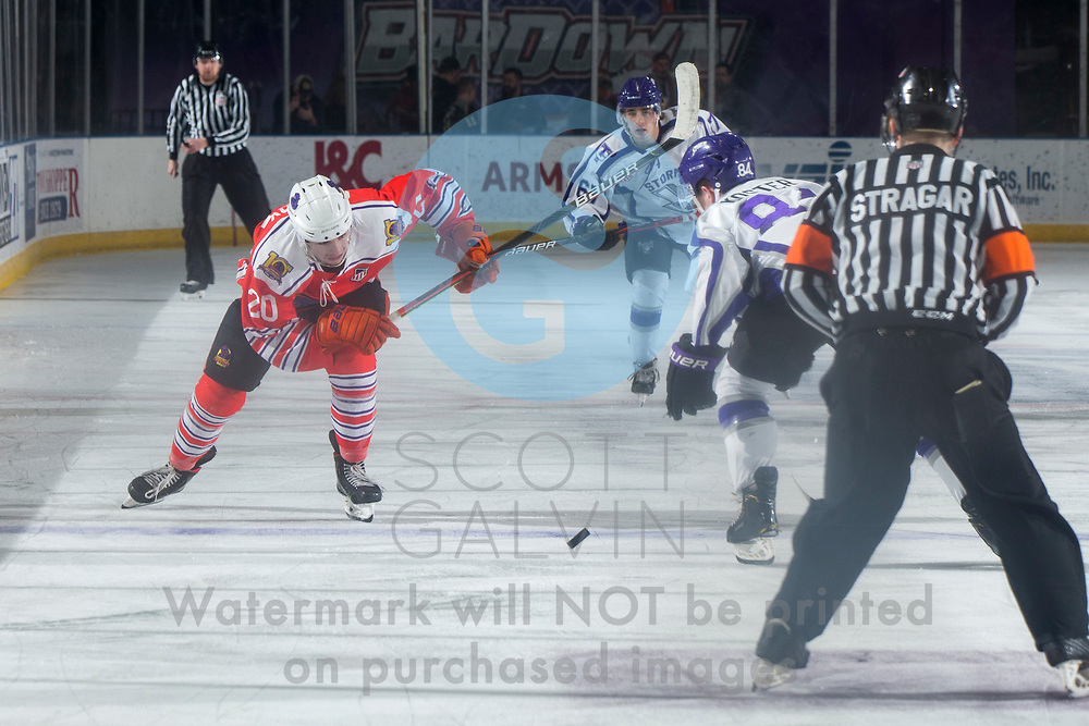 Youngstown Phantoms win 5-3 against the Tri-City Storm at the Covelli Centre on January 18, 2020.<br /> <br /> Matthew Cassidy, forward, 20