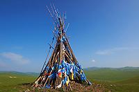 Mongolie, Arkhangai, La vallee de la la Steppe Jaune, Ovo, monument bouddhiste // Mongolia, Arkhangai, Yellow Steppe valley, Ovo, buddhist monument